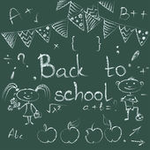 Back to school chalkboard sketch. — Stock Vector