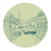 Pedestrian street in city — Stock Vector