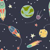 Seamless pattern with space — Vecteur