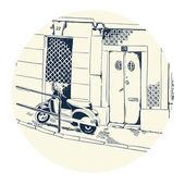 Quiet street with motorbike — Stock Vector