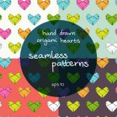 Origami paper hearts seamless pattern — Vecteur