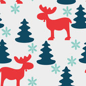 Christmas seamless pattern with moose — Stock Vector