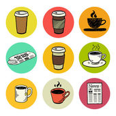 Doodle coffee break icons — Stock Vector