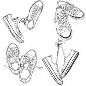 Sneakers drawn in a sketch style — Vettoriale Stock