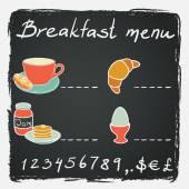 Breakfast menu with coffee — Stock Vector
