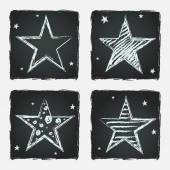 Hand drawn stars on chalkboard background — Stock Vector