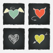 Colorful hand drawn hearts — Vetorial Stock