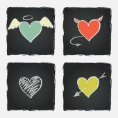 Colorful hand drawn hearts — Stockvector