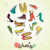 Different shoes in circle. — Stock Vector