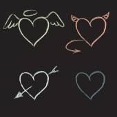 Hand drawn hearts set — Stock Vector