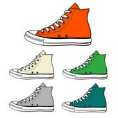 Colorful high sneakers — Stock Vector
