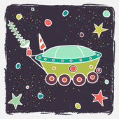 Cartoon moon car and stars. — Vettoriale Stock
