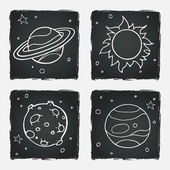 Set of cartoon space elements — Stock Vector