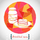 Stack pancakes and jar with jam — Stock Vector