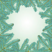Fir tree brunches Christmas frame — ストックベクタ
