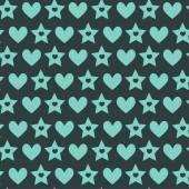 Pattern with green hearts and stars — Stock Vector