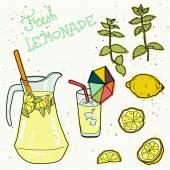 Summer set with lemonade — Stock Vector