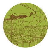 Outdoor farmers market — Stock Vector