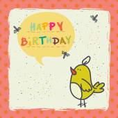 Birthday card with  bird — Stock Vector