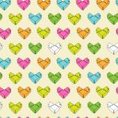 Origami paper hearts pattern — Stock Vector