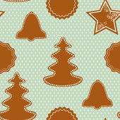 Christmas pattern with gingerbread cookies — Stock Vector