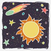Cartoon sun, comet and stars. — Stock Vector
