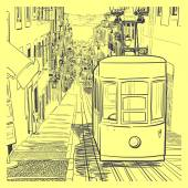 Quiet Lisbon street with a tram — Stock Vector