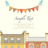 Cartoon Paris roofs, birds and bunting flags — Stockvektor