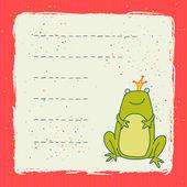 Card with cartoon frog — Stock Vector