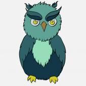 Cartoon green owl — Stock Vector
