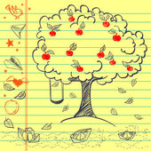 Hand drawn apple tree sketch — Stock Vector