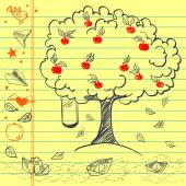 Hand drawn apple tree sketch — Stockvektor