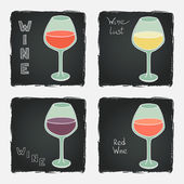 Set of glasses for red wine — Stock Vector