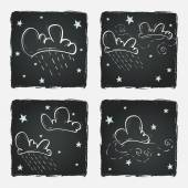Clouds and stars on chalkboard — Vecteur