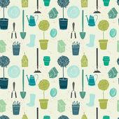 Garden green seamless pattern — Stock Vector