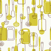 Seamless pattern with kitchen utensils — Stock Vector
