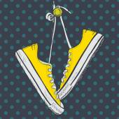 Pair of yellow sneakers — Stock Vector