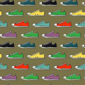 Hand drawn sneakers pattern — Stock Vector