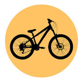 Bicycle in yellow circle frame — Vector de stock