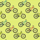 Pattern with colorful mountain bicycles — Vector de stock