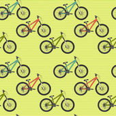 Pattern with colorful mountain bicycles — Stock Vector