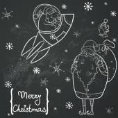 Funny cartoon Santa and bird set. — Stock Vector