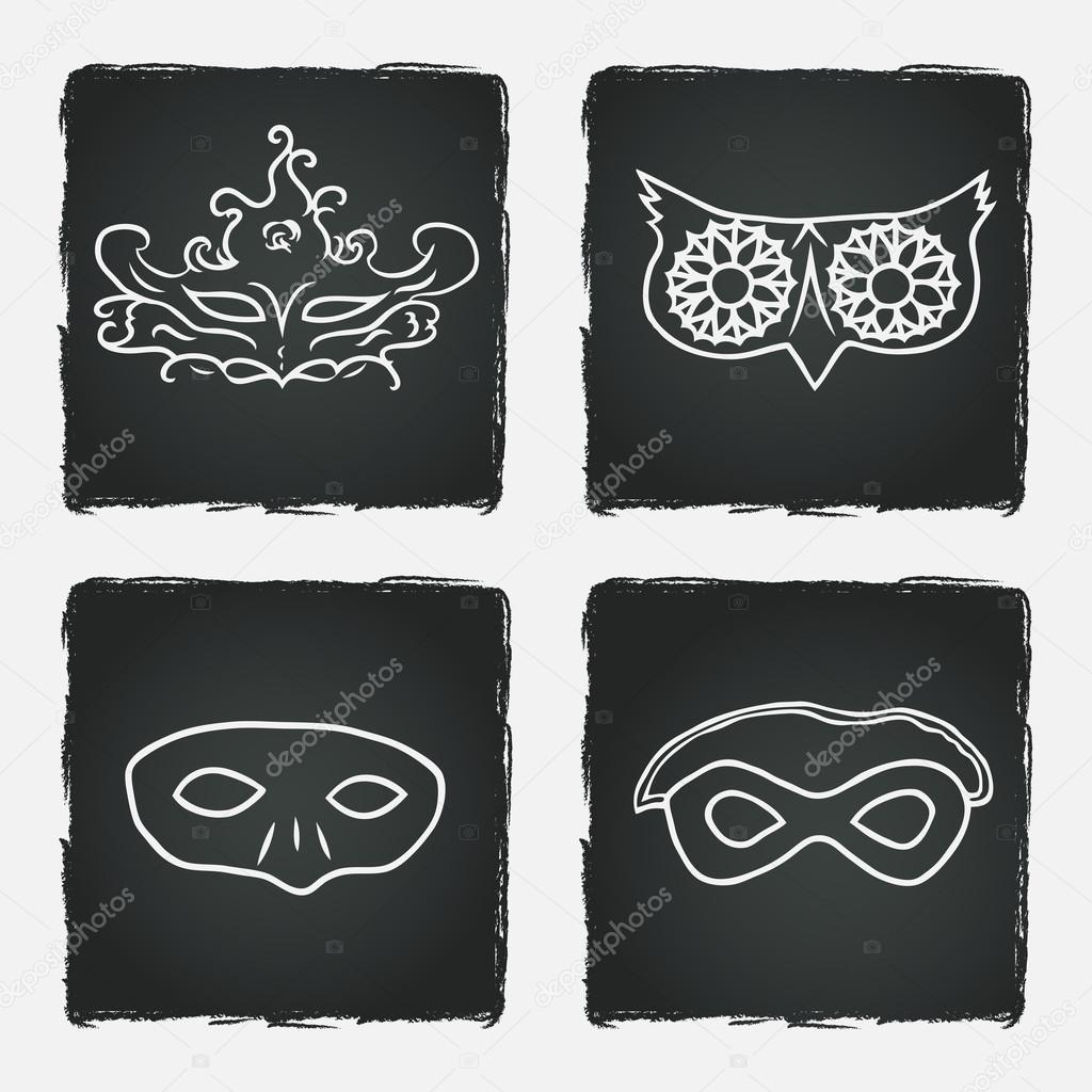 Carnival Silhouette Vector Carnival Masks Silhouettes on