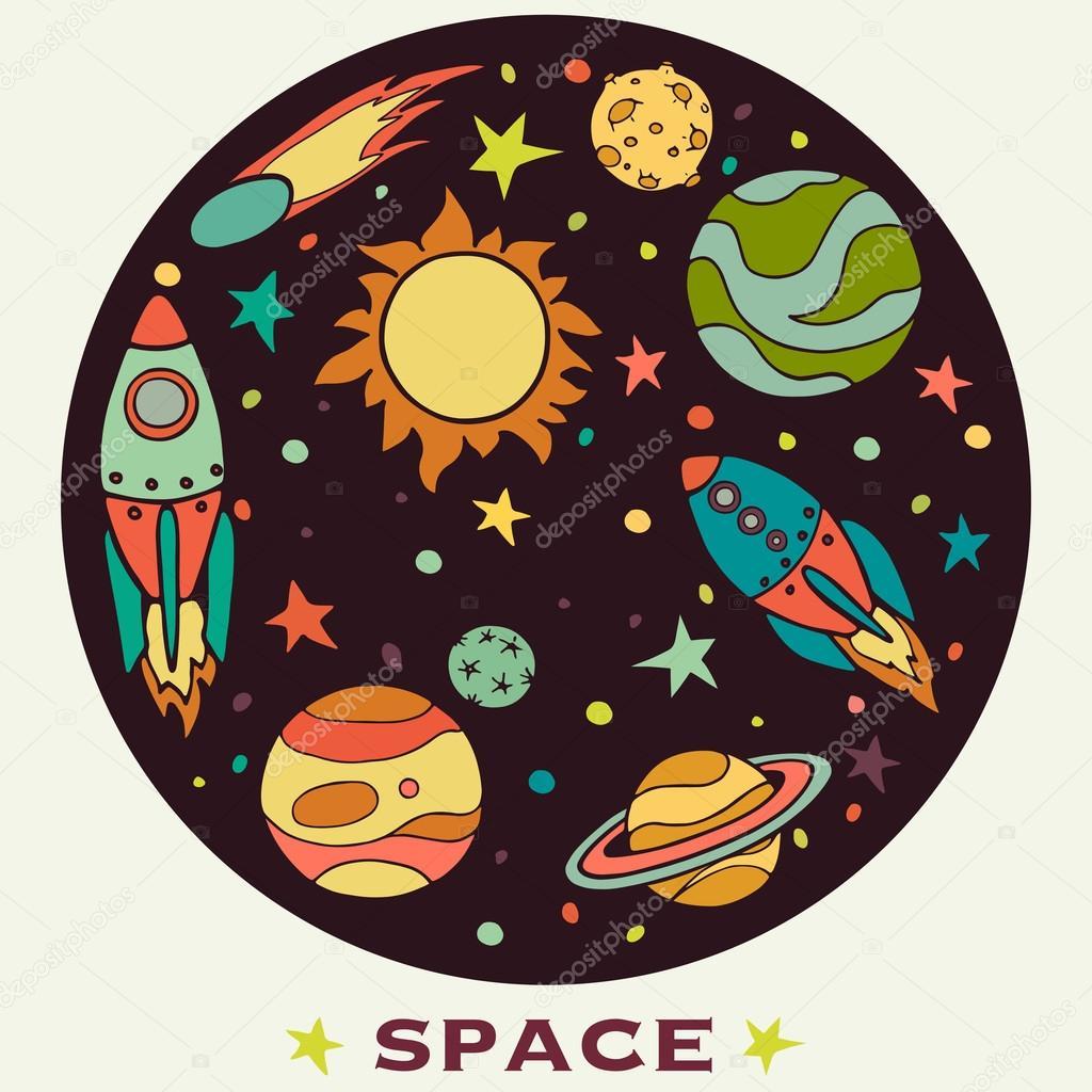 Рисунки в круге космос