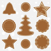 Tags made of Christmas gingerbread — Stock Vector