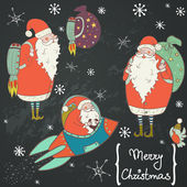 Funny cartoon Santa and bird set. — Stockvektor