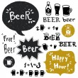 Beer bottles, glasses and banners — Stock Vector #78030420
