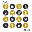 Doodle beer bottles and glasses — Stock Vector #78031330