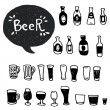 Doodle beer bottles and glasses. — Stock Vector #78031572