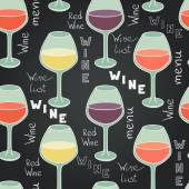 Seamless pattern with  glasses of wine — Stock Vector